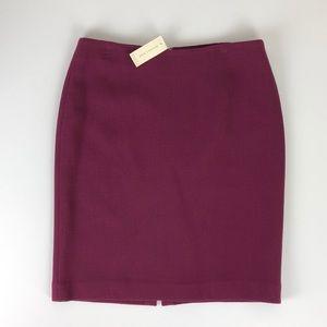 NEW Ann Taylor petites wool cranberry pencil skirt